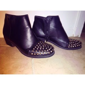 Shoes - Black ankle booties with studs